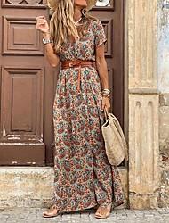cheap -Women's Shift Dress Maxi long Dress Red Brown Short Sleeve Color Block Split Summer V Neck Elegant 2021 S M L XL XXL 3XL