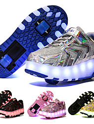 cheap -Boys' Girls' Sneakers Light Up Shoes USB Charging LED Shoes PU Big Kids(7years +) Daily Walking Shoes Black Blue Pink Spring