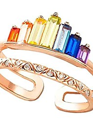 cheap -xym rainbow ring double band, adjustable wide band stacking rainbow rings for women, adjustable opening rose gold colorful ring