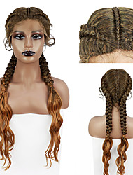 cheap -Hand-Braided Synthetic Lace Front Cornrow Braids Wigs Double Dutch Braids Curly End Lightweight Swiss Soft Lace Frontal Twist Braided Wigs with Baby Hair Free Wig Cap