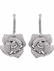 cheap -huggie cz flower dangle stud earrings for women girls with charms fashion luxury pave rhinestone filigree camellia rose dainty crystal drop dangling wedding prom jewelry dainty gift