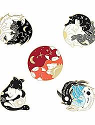 cheap -cartoon yin yang enamel pins sets -cute cat brooch pins for women men lovely hugging circle rabbits fish fox dinosaur lapel pins badges accessories gifts