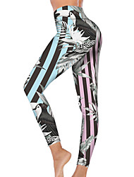 cheap -21Grams Women's High Waist Yoga Pants Cropped Leggings Tummy Control Butt Lift Breathable Stripes Light Blue Fitness Gym Workout Running Sports Activewear High Elasticity