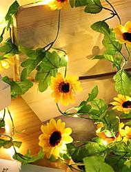 cheap -Artificial Sunflower LED String Light Ivy Vine 2.2m 20Leds for Home Wedding Party Bedroom Decor Lamp DIY Hanging Lighting 2pcs 1pc Set