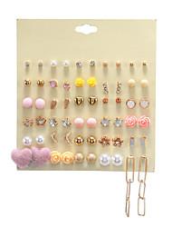 cheap -pink peach earrings set heart resin flower dot diamond alloy chain 30 pairs of earrings set