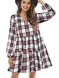 cheap -fancyinn womens long sleeve buffalo plaid shift tunic dress ruffle hem vneck casual swing babydoll mini dress with pockets red & white l
