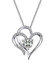 cheap -Women's Pendant Necklace Charm Necklace Classic Cross Heart Precious Fashion Zircon Copper Gold Plated Silver 45 cm Necklace Jewelry 1pc For Christmas Party Evening Street Gift Prom