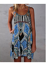 cheap -2021 cross-border european and american new style bohemian print beach dress with suspender skirt