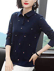 cheap -Women's Golf Polo Shirts Long Sleeve Quick Dry Breathable Soft Sports Outdoor Autumn / Fall Winter Spring Cotton Royal Blue / Stretchy
