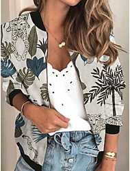 cheap -Women's Jackets Plants Print Sporty Spring Jacket Regular Daily Long Sleeve Air Layer Fabric Coat Tops White