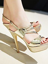 cheap -Women's Heels Pumps Faux Leather Gold Silver