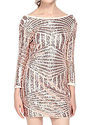 cheap -haoduoyi womens sparkly sequin asymmetrical striped backless sexy mini dress(l,gold)