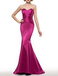 cheap -Mermaid / Trumpet Mother of the Bride Dress Elegant Sweetheart Neckline Sweep / Brush Train Satin Half Sleeve with Ruching 2021