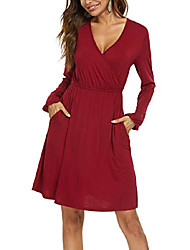 cheap -dgmyg women's v-neck long sleeve flared a-line party casual dress with pockets s wine