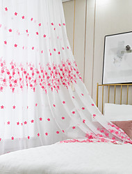 cheap -Two Panel Small Fresh Style Red Warm Embroidered Window Screen Living Room Bedroom Dining Room Study Room Children's Room Translucent Tulle
