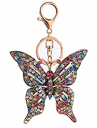 cheap -junderjdj crystal rhinestone butterfly keychain, ladies car key ring, handbag, keychain decoration (pink)