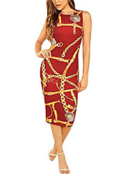 cheap -pursuitlight women's crew neck dress chain print clubwear sleeveless skinny dress red wine
