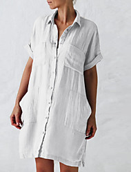 cheap -2021 foreign trade europe and the united states new style cotton and linen long sleeve irregular pocket dress shirt skirt