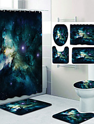 cheap -Stunning Starry Sky Pattern Printing Bathroom Shower Curtain Leisure Toilet Four-Piece Design