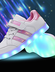 cheap -Boys' Girls' Sneakers LED LED Shoes USB Charging PU Little Kids(4-7ys) Big Kids(7years +) Lace-up LED Luminous Pink / White Black / White Black Spring