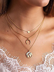 cheap -geometric multi-layer alloy gold-plated map moon love trend necklace female