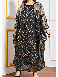 cheap -Women's Kaftan Dress Maxi long Dress Black Long Sleeve Polka Dot Print Sequins Embroidered Summer Round Neck Casual Loose 2021 One-Size