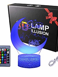 cheap -Mobestech 3D Night Light Islamic Muhammad Optical Illusion Table Lamp Color Changes LED Night Light for Eid Ramadan Mubarak Decor