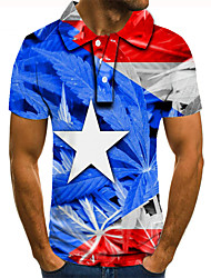 cheap -Men's Golf Shirt Tennis Shirt 3D Print Graphic Prints Star Flag Button-Down Short Sleeve Street Tops Casual Fashion Cool Blue / Sports