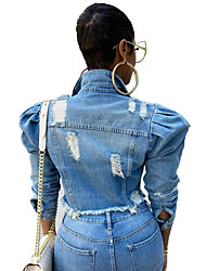 cheap -new european and american plus size women's clothing, color stitching short jacket, women's fashion trendy denim jacket
