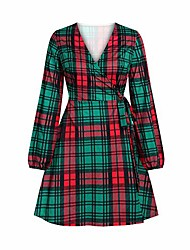 cheap -women chrismas plaid red green long sleeves dresses casual fall winter midi dress 50s formal for special occasions dress (s, green)