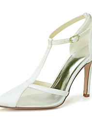 cheap -Women's Wedding Shoes Stiletto Heel Pointed Toe Satin Solid Colored White Black Purple