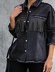 cheap -cross-border autumn and winter stand alone european and american denim jacket jacket women black long-sleeved fringed amazon denim jacket women