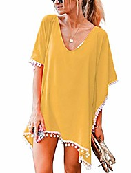 cheap -Women's Cover Up Beach Dress Swimsuit Tassel Oversized Solid Color Light Blue Purple Yellow Blushing Pink Red Wine Swimwear Bathing Suits New Casual Vacation