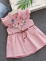 cheap -2020 summer new ins pure cotton girls dress children princess dress female baby embroidered peach blossom vest skirt