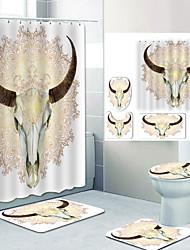 cheap -Sheep Head Digital Printing Four-piece Set Shower Curtains and Hooks Modern Polyester Machine Made Waterproof Bathroom