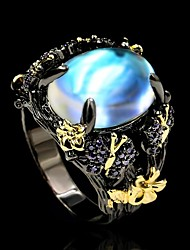 cheap -Ring Moonstone Two Stone Black Brass Floral Theme Flower Artistic Fashion Vintage 1pc 6 7 8 9 10 / Women's
