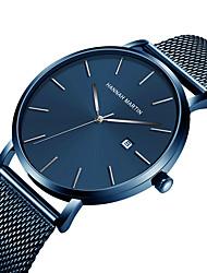 cheap -HANNAH MARTIN Men's Dress Watch Analog Quartz Minimalist Calendar / date / day Large Dial / Stainless Steel / Stainless Steel / Japanese