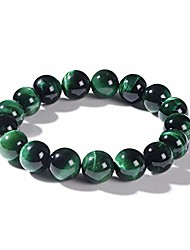 cheap -qanyue natural gemstone green tiger eye stone bracelet for women man beaded stretch bracelet 12mm beads meditation unisex