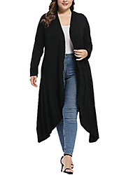 cheap -women's plus size cardigan with pockets open front maxi drape cardigans sweater waterfall asymmetric duster black 4x-large
