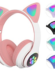 cheap -Cute Cat Ear Bluetooth Wireless Headphones Glowing LED RGB Flash Light for Girls Kids Gift Kid Girl Stereo Bass