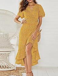 cheap -amazon european and american cross-border new product female wave dot printing high waist lace v-neck chiffon large irregular dress