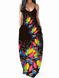 cheap -2021 cross-border source wish european and american new women's digital printing sexy v-neck long dress suspender dress