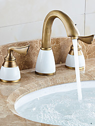cheap -Bathroom Sink Faucet - Widespread Antique Brass Widespread Single Handle One HoleBath Taps