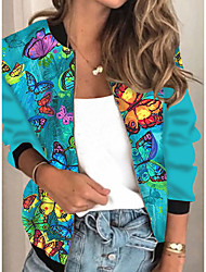 cheap -Women's Jackets Animal Patterned Print Casual Fall Jacket Regular Daily Long Sleeve Air Layer Fabric Coat Tops Blue