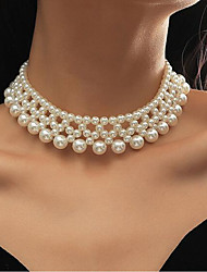 cheap -Women's Choker Necklace Simple Elegant Classic Imitation Pearl White 38+5 cm Necklace Jewelry 1pc For Birthday Party Festival