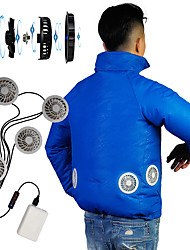 cheap -Men's Hoodie Jacket Cooling Fan Jacket Outdoor Air Conditioning USB Rechargeable Lightweight Breathable Jacket Spring Summer Fishing Camping & Hiking Cycling / Bike White Yellow Sky Blue / Stretchy