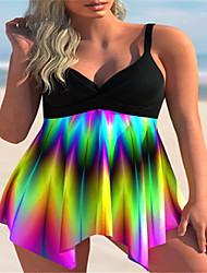 cheap -2021 cross-border european and american style asymmetrical hem color printing cross front swing split swimsuit