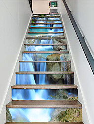 cheap -Creative 13 Pieces Of Majestic Waterfalls Scenery Staircase Stickers Ladder Renovation Stickers Decoration Self-adhesive Wall Stickers