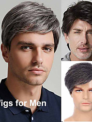 cheap -Mens Wig Short Layered Male Wig Synthetic Hair Wigs Heat Resistant Touqee Cosplay Halloween Party with Wig Cap
