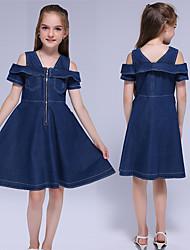 cheap -Kids Little Girls' Dress Solid Colored Causal Blue Knee-length Sleeveless Sweet Dresses Summer Regular Fit 3-13 Years